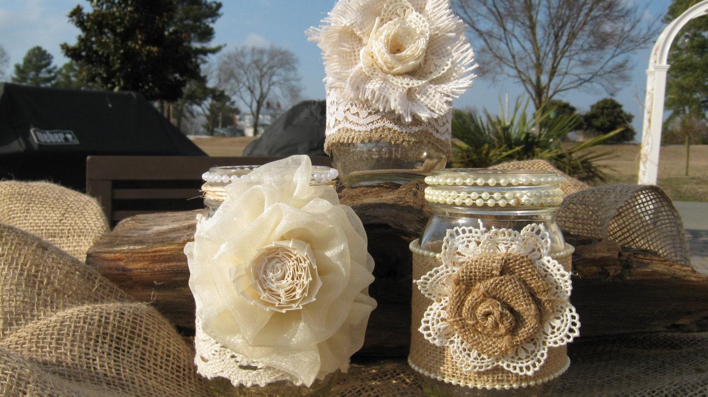 Wedding Burlap Lace Mason Jar