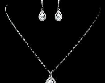 Crystal bridal set, Bridesmaid jewelry set, Necklace and earrings set, Rhinestone jewelry set