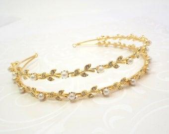 Double Row Bridal headband, Gold Wedding headband, Bridal headpiece, Pearl headband