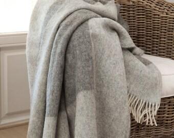 MADE IN EUROPE bedspread / wool bedspread / woolen bedspread / grey bedspread / king size bedspread / blanket / blankets 'Boteh 11'