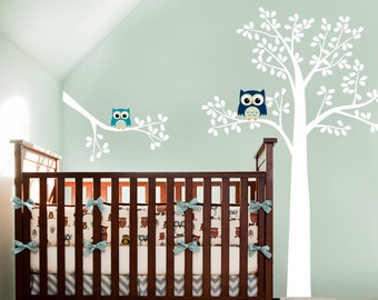 Owl Tree with Branch, Owl on branch, Owl decal, Nursery tree
