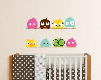 Fun Birds on a Line Vinyl Decal, Bird decal, Nursery Birds, Rainbow birds, Nursery decal