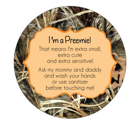 Camo Preemie, newborn, baby car seat tag, baby shower gift, stroller tag, baby car seat sign