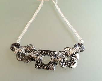 Focal black and silver necklace