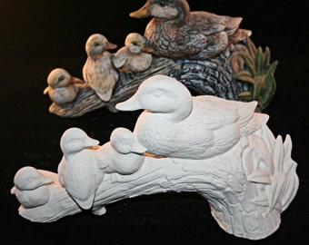 Ceramic Duck and Ducklings (Unpainted Bisque)