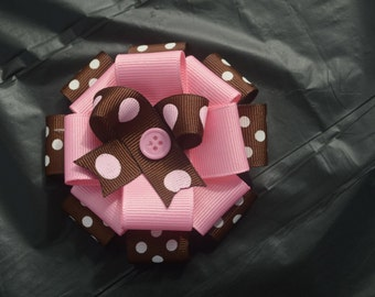 Brown/Pink Ribbon Flower Bow