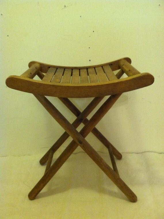 Vintage Wooden Camp Stool Slatted Wood Foldingrustic Wooden
