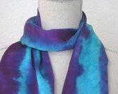 "Handpainted Silk Scarf. Hand Dyed Scarf. Purple and Turquoise scarf. Medium 8""x52""."