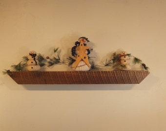 "859 - 41""W x 3.75""H x 4""D Antique reclaimed floating wood shelf/mantel, solid Oak"