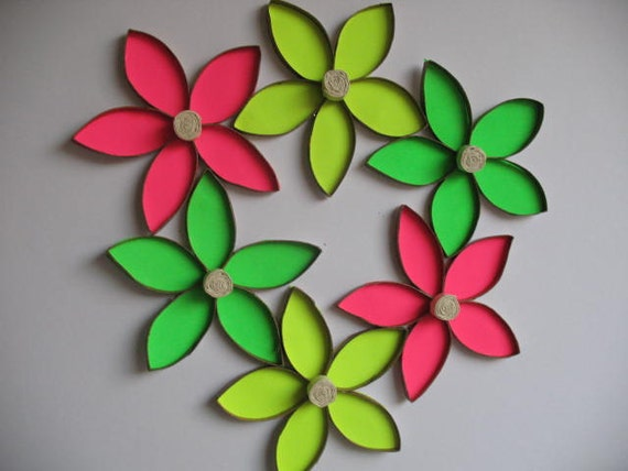 Items similar to recycle wall flower art upcycled toilet for Flowers made out of toilet paper rolls