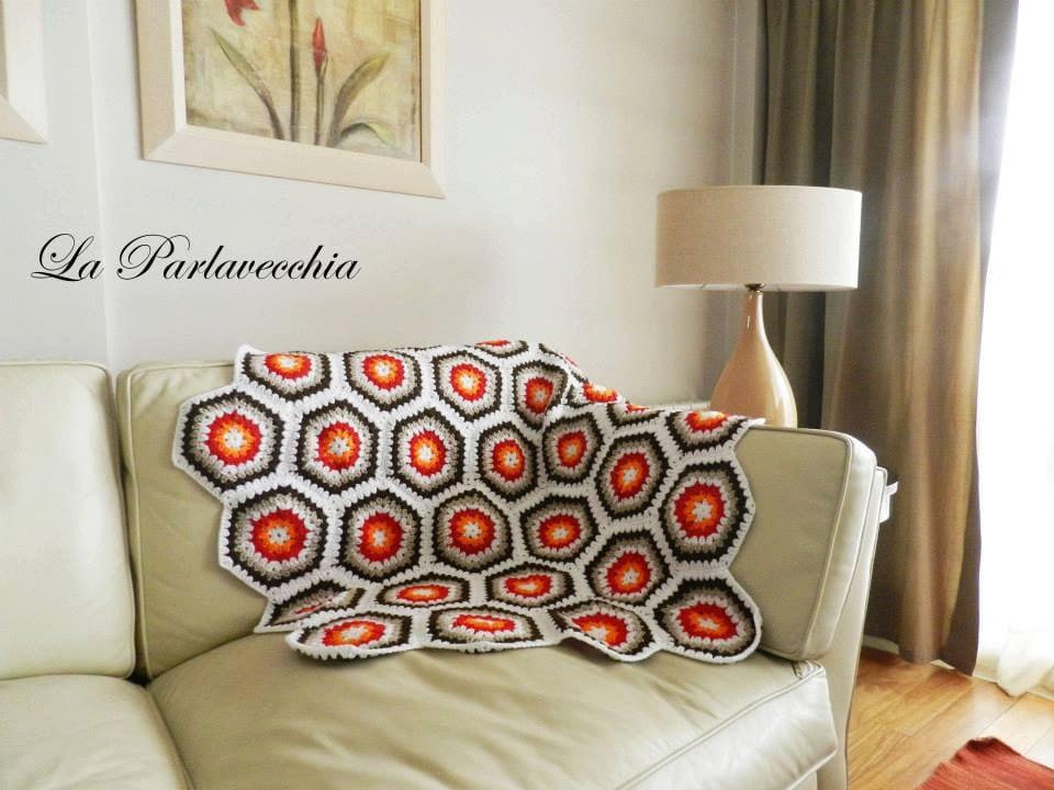 Retro Style Sofa Throw 70s Crochet Blanket Wool Afghan 1970s