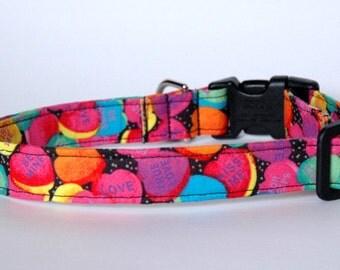 "Handmade Valentines Conversation hearts Dog Collar ""New"""