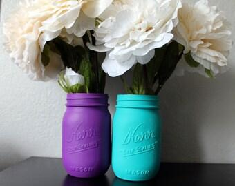 Painted Mason Jars, Purple and Aqua Painted Mason Jars, Baby Shower Decor, Wedding Decor, Home Decor, Centerpieces