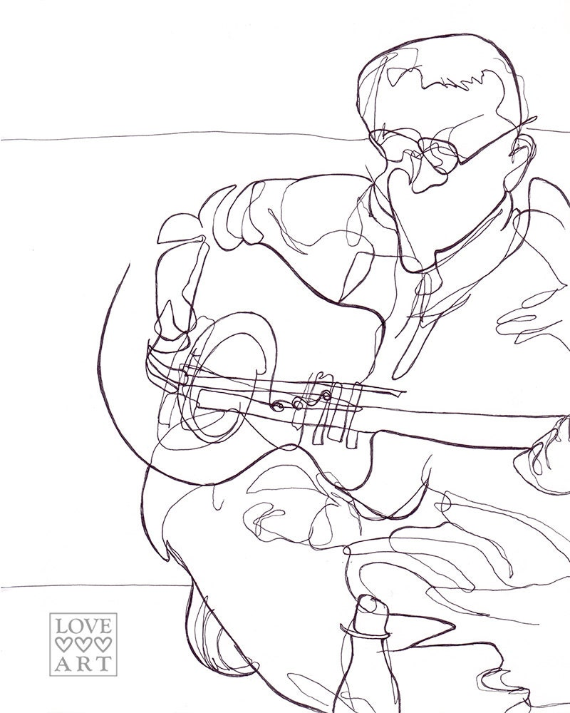 Contour Line Drawing Guitar : Line drawing guitarist