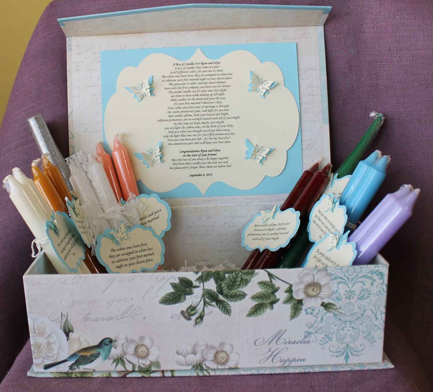 Wedding Shower Candle Poem Gift Set. Bridal candle basket.