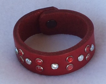 Girl's bracelet, red leather bracelet, girl's wristband, red wristband, red bracelet