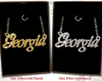 Name Necklace Georgia - 18K Gold Plated, Czech Rhinestones