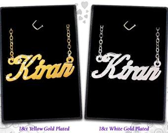 Name Necklace Kiran  - 18K Gold Plated, Czech Rhinestones