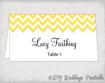 "Place card template ""Chevron"" Sunbeam yellow name cards -DIY wedding printable yellow place cards  YOU EDIT Word / Jpg Avery 5302 download"