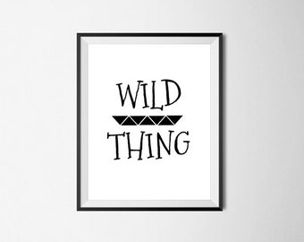 Wild Thing - typographic, bold, word art, instant art, quotes, printable, wall decor, geometric, tribal, triangles, nursery art