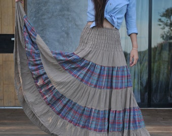 Light Brown with Scott Patchwork / Gypsy-Maxi Long Skirt