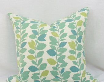 "Blue & green pillow cover. Waverly Leaf Garland spa decorative pillow cover. 18"" x 18"" pillow. Accent pillow."