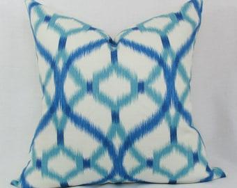 Blue & aqua ikat decorative throw pillow cover 18x18 20x20 22x22 Blue pillow cover Aqua pillow cover Blue white pillow Blue turquoise pillow