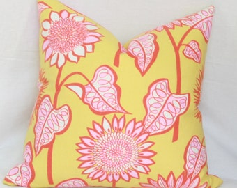 Pink, yellow & orange floral decorative throw pillow cover 18x18 pillow cover pink yellow pillow 18x18 orange yellow pillow 18x18