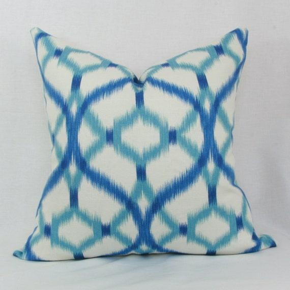 Blue And Aqua Throw Pillows : Blue & aqua ikat decorative throw pillow cover 18x18 20x20