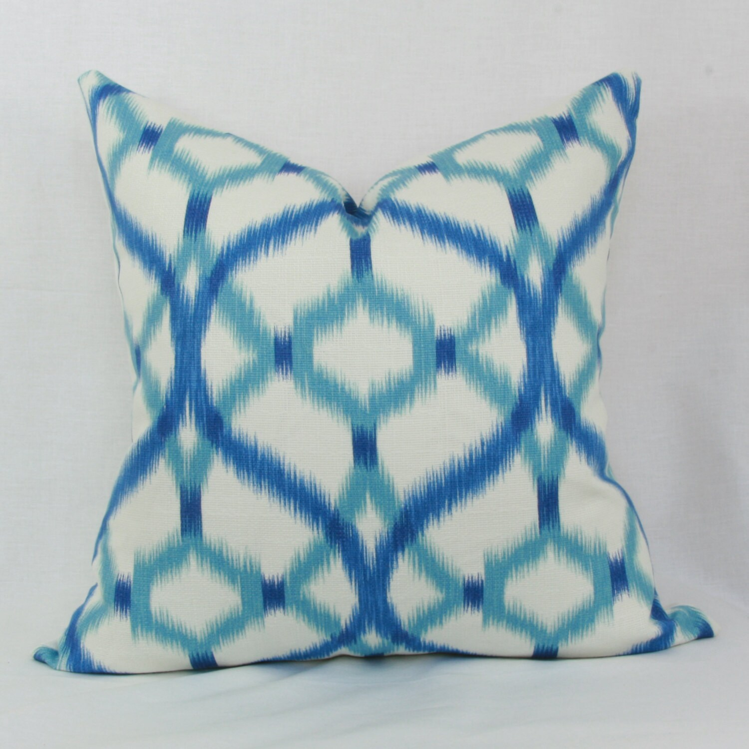 Throw Pillows Aqua Blue : Blue & aqua ikat decorative throw pillow cover 18x18 20x20