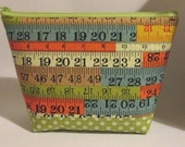 Cosmetic Bag in Colourful Measuring Tape Print and Green Polka Dots