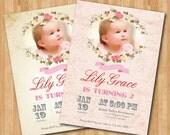 Birthday Invitation. 1st first birthday boy girl bday invitations. Flower floral Birthday party invite with photo. Printable digital DIY.