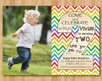 2nd Birthday Invitation Rainbow Second Invite With Custom Photo Boy Or Girl Party
