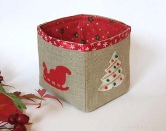 Christmas Basket-Little Christmas Fabric Basket, Christmas Plant Pot, Christmas Linen Bin Organizer- Linen Fabric Basket