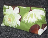 Quilted Green Lily Pad Lined Cotton Zippered Pouch Medicine, Make-up or Pencil Bag