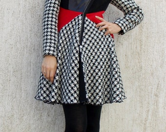 Asymmetrical Flared Wool Coat / Block Color Winter Coat / Funky Wool Winter Coat TC27