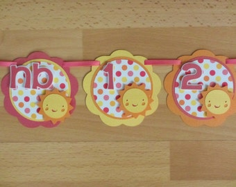 Sunshine Sun 12 Month First Year Photo Banner Sign Birthday Party Sunny Yellow Pink Orange