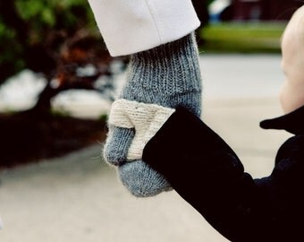 NEW LOW PRICE! Forget Me Knots Mittens are shared mittens for holding little hands on the go!