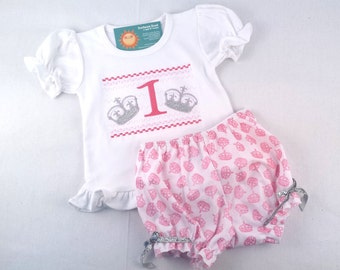 Girl's Princess Crown Birthday Frill Shirt with Coordinating Pink Bloomers