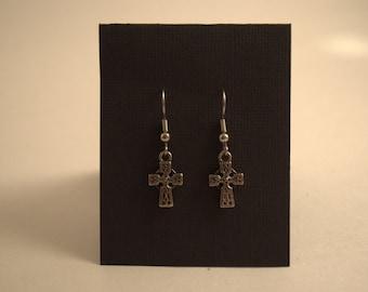 Tibetan Silver Cross Earrings