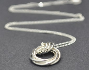 Love Knot Pendant, Sterling Silver Necklace Mobius Flower, Infinity necklace, Eternity