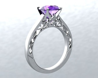 Engagement Ring VICTORIAN LOVE Collection 14kt White Gold 6.5mm Round Amethyst Engagement Ring Wedding Ring Anniversary Ring Birthstone Ring