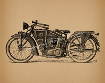 Classic Motorcycle Art Vintage Artwork Wall Art Antique Motorcycle Print with Antique Aged Paper Style Background No.3470 B1 8x8 8x10 11x14