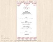 Printable wedding menu template  Menu card template  Instant download wedding  Editable Word.doc  Menu card wedding templates  Rosegold