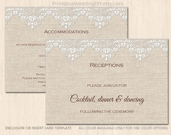 burlap and lace enclosure card template wedding insert card. Black Bedroom Furniture Sets. Home Design Ideas
