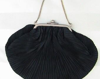 Classic Black Pleated Evening Handbag Vintage Glamour Ladies Accessories Ladies Handbag