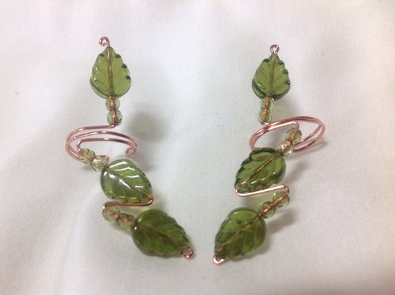 Spring Leaves Earcuffs, pair made with Czech Glass and crystal beads
