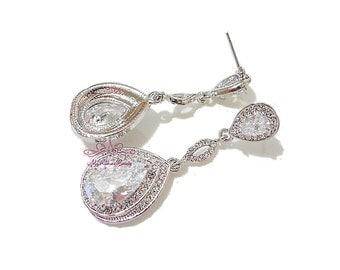 Bridal Earrings, Wedding Earrings, Bridal Bridesmaid Teardrop Earring Dangle Swarovski Crystal Clear Zircon, Bridal Earrings ER0017