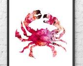 Red crab painting watercolor art print, nautical art, ocean life art, sea life beach decor, coastal decor - 55