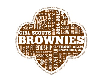 Personalized Brownies Girl Scouts Word Art  * * Digital Image * * DIY Printable * *